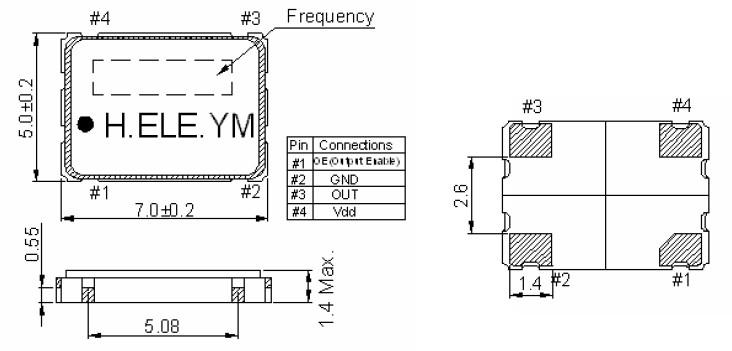 石英晶体振荡器,有源晶振hso751s,加高7050贴片晶振